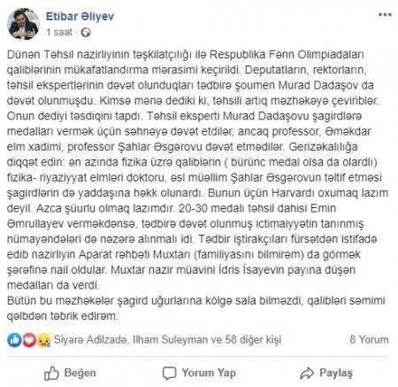 Murad Dadaşovun nazirliyin tədbirində iştirakı qalmaqal yaratdı